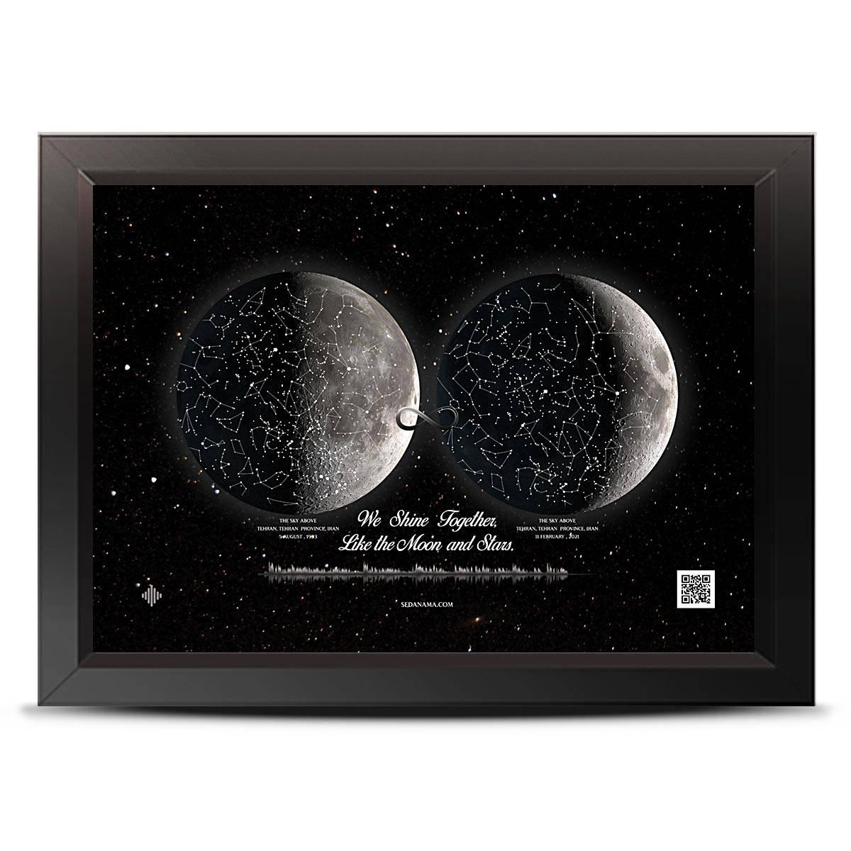 تابلو آسمان صورت فلکی و ماه دوقلو St23