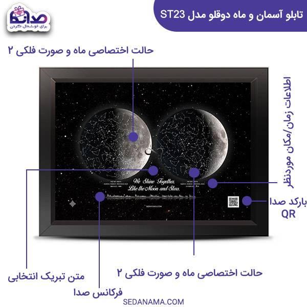 راهنمای تابلو آسمان صورت فلکی و ماه دوقلو مدل ST23