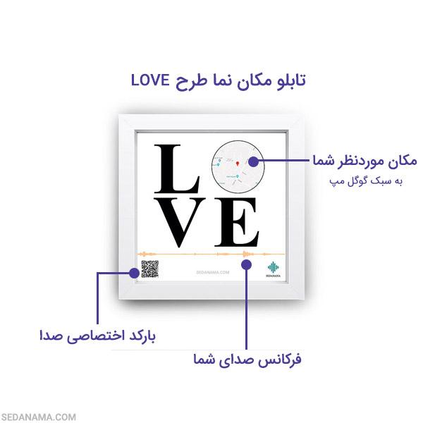 راهنمای تابلو مکان نما طرح LOVE