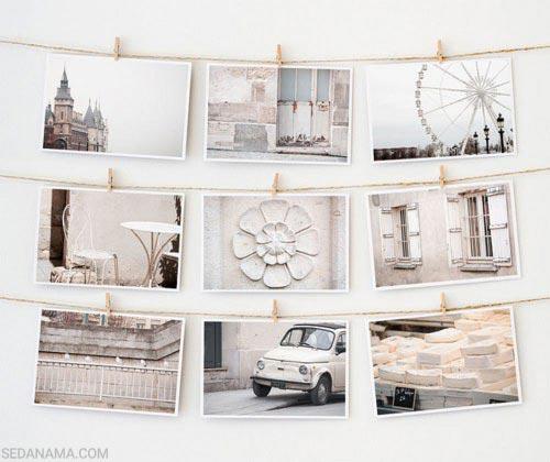 نمایش عکس روی دیوار با بند کنف