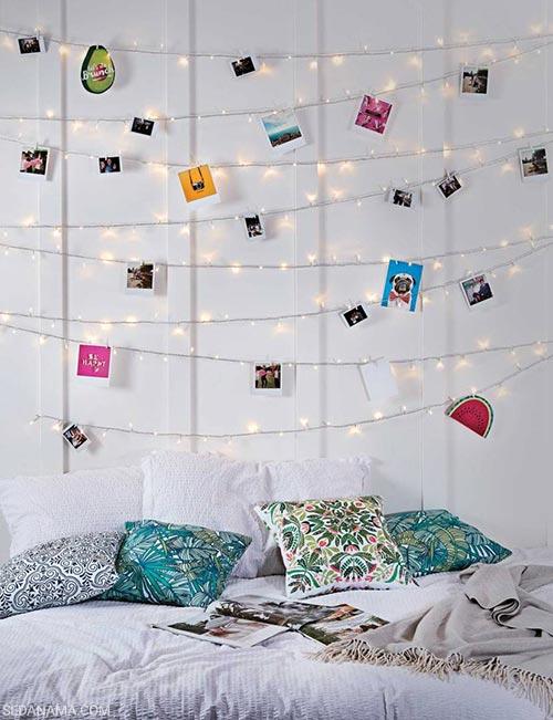 نمایش عکس روی دیوار با ریسه نور