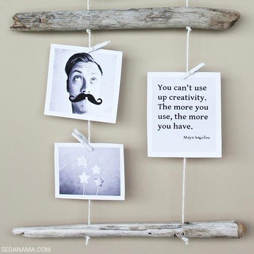 نمایش عکس روی دیوار با چوب